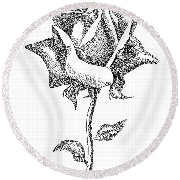 Rose Drawings Black-white 5 Round Beach Towel