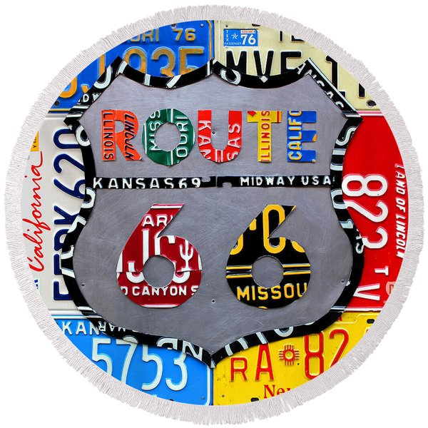 Route 66 Highway Road Sign License Plate Art Round Beach Towel