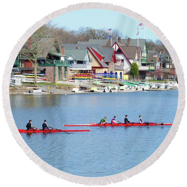 Round Beach Towel featuring the photograph Rowing Along The Schuylkill River by Bill Cannon