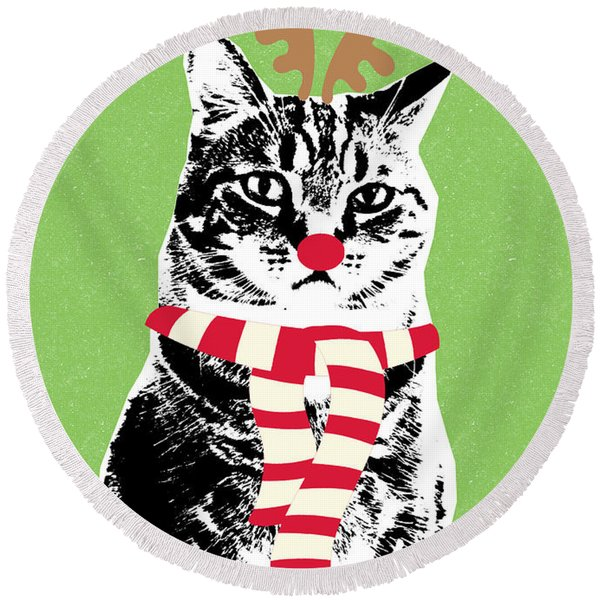 Rudolph The Red Nosed Cat- Art By Linda Woods Round Beach Towel