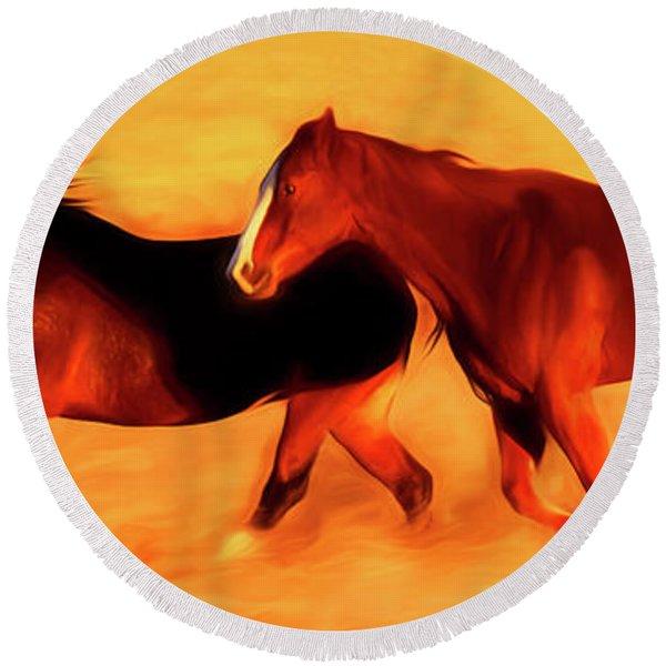 Running Horses 01 Round Beach Towel