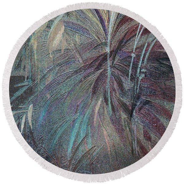 Round Beach Towel featuring the mixed media Rush by Writermore Arts