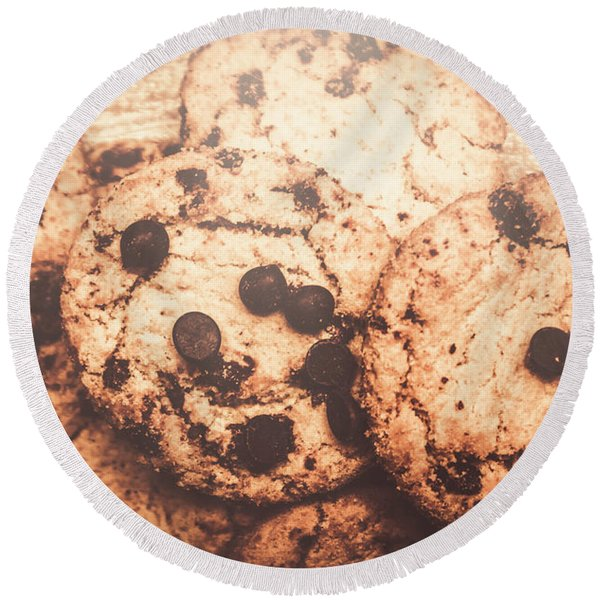Rustic Chocolate Chip Cookie Snack Round Beach Towel
