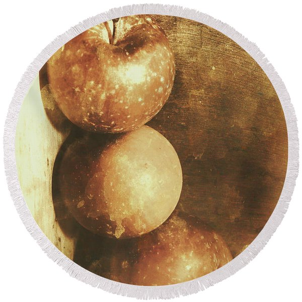 Rustic Old Apple Box Round Beach Towel