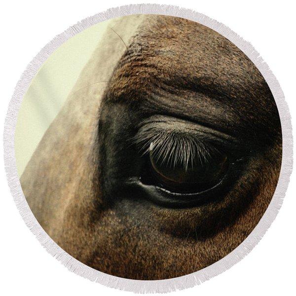 Sadness Horse Eye Round Beach Towel