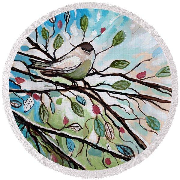 Sage Glimmering Songbird  Round Beach Towel