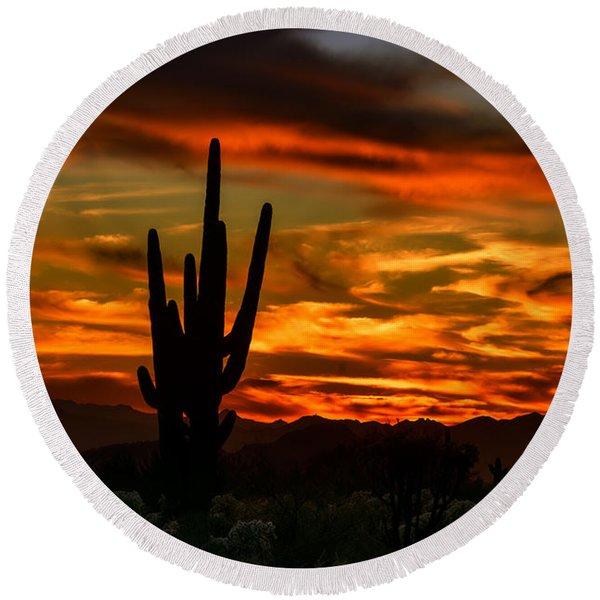 Saguaro Sunset H51 Round Beach Towel