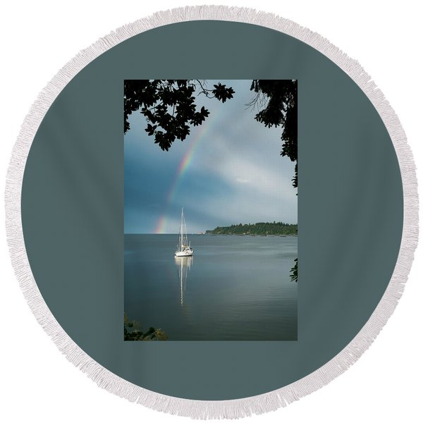 Round Beach Towel featuring the photograph Sailboat Under The Rainbow by Mary Lee Dereske