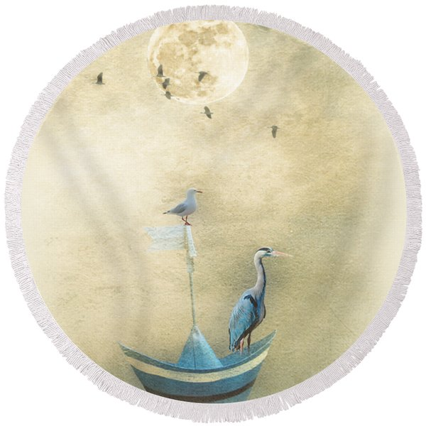 Sailing By The Moon Round Beach Towel
