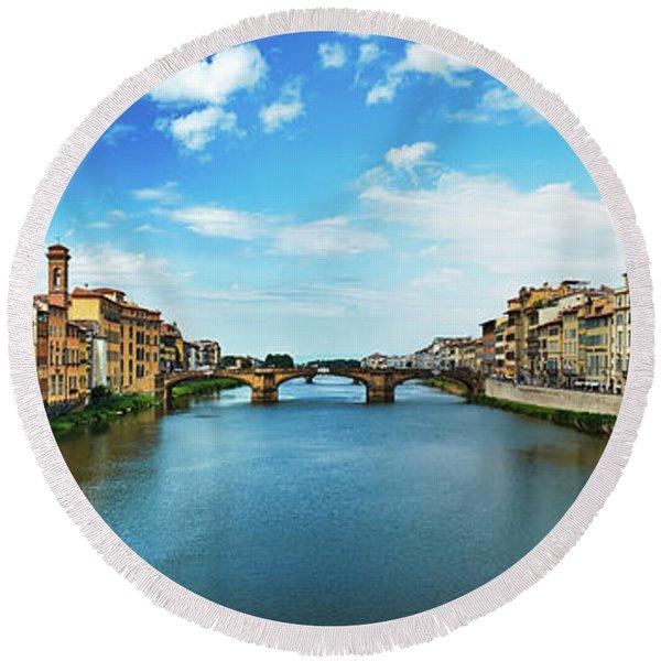 Panoramic View Of Saint Trinity Bridge From Ponte Vecchio In Florence, Italy Round Beach Towel