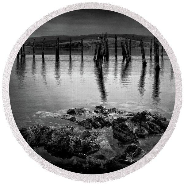 Salen Pier, Isle Of Mull Round Beach Towel