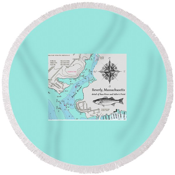 Salter's Point Map Round Beach Towel