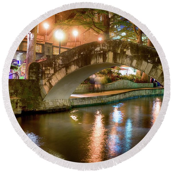 San Antonio River Walk V1 Round Beach Towel