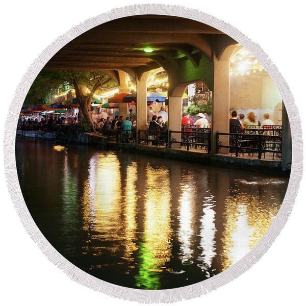 San Antonio River Walk V2 72516 Round Beach Towel