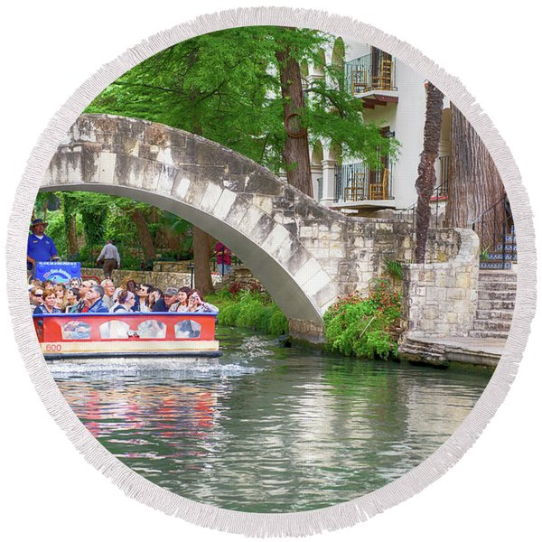 San Antonio River Walk V2 Round Beach Towel