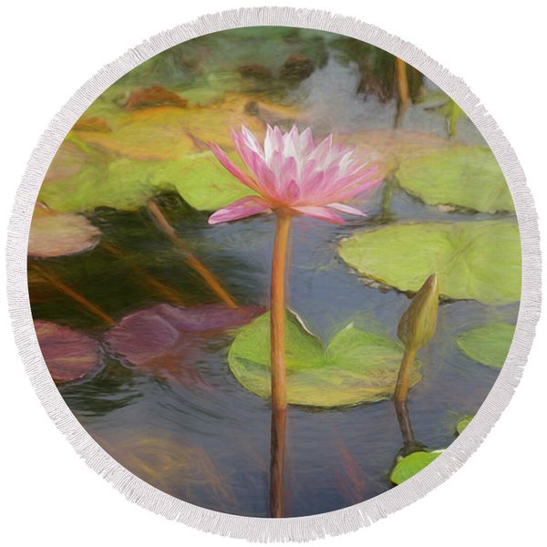 Round Beach Towel featuring the photograph San Juan Capistrano Water Lilies by Michael Hope