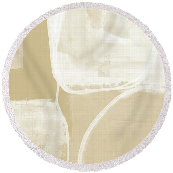 Sand And Stone 5- Contemporary Abstract Art By Linda Woods Round Beach Towel