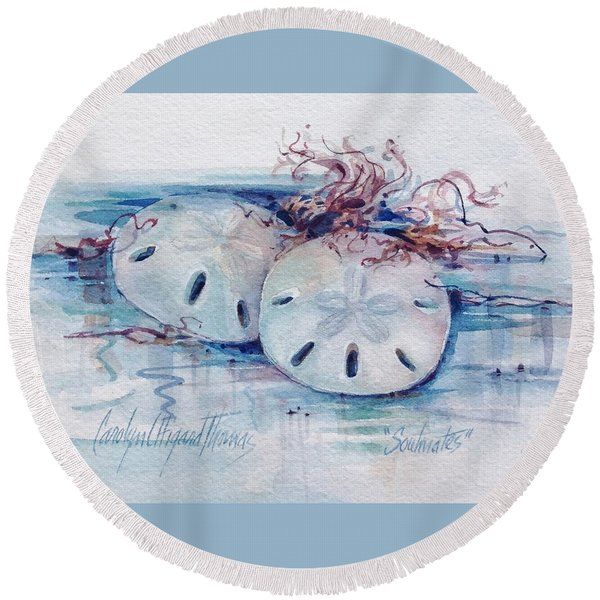 Round Beach Towel featuring the painting Sand Dollar Soulmates by Carolyn Utigard Thomas