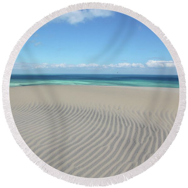 Sand Dune Ripples And The Ocean Beyond Round Beach Towel