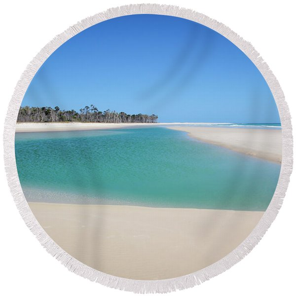 Sand Island Paradise Round Beach Towel