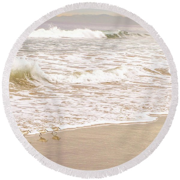 Round Beach Towel featuring the photograph Sandelings In Hermosa by Michael Hope