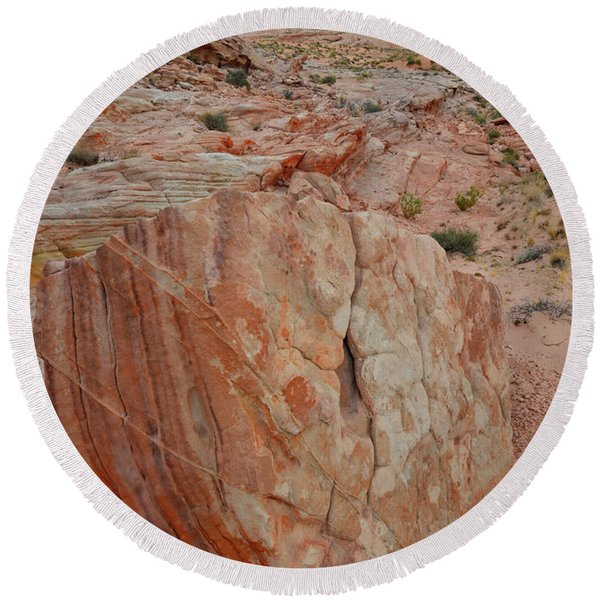Sandstone Shield In Valley Of Fire Round Beach Towel
