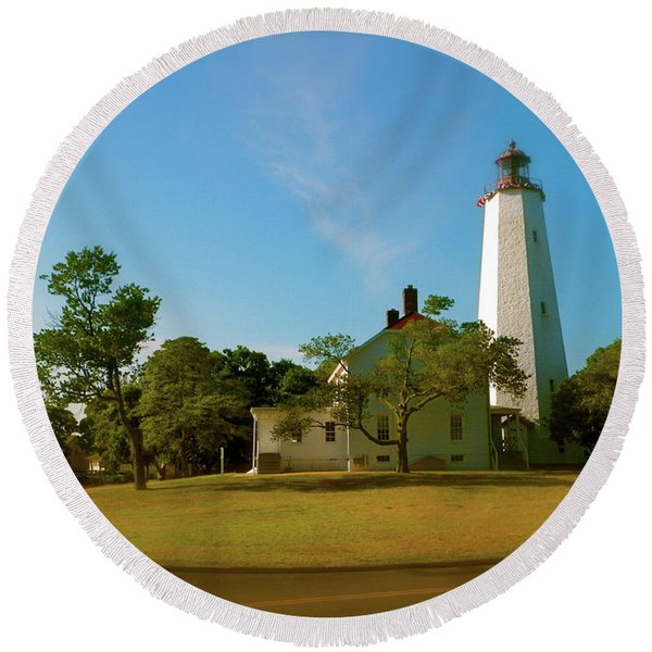 Sandy Hook Lighthouse Round Beach Towel