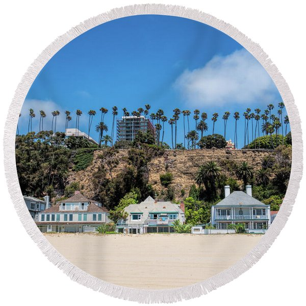 Round Beach Towel featuring the photograph Santa Monica Beach Front by Michael Hope