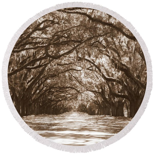 Savannah Sepia - Glorious Oaks Round Beach Towel