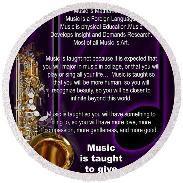 Saxophone Photographs Or Pictures For T-shirts Why Music 4819.02 Round Beach Towel