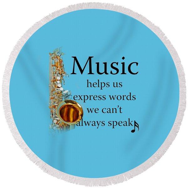 Saxophones Express Words Round Beach Towel