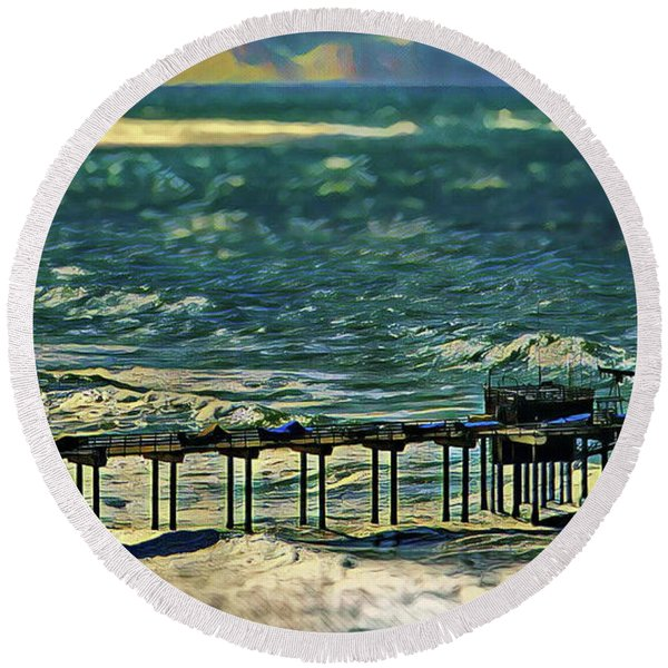 Scripps Pier Winter Storm Round Beach Towel