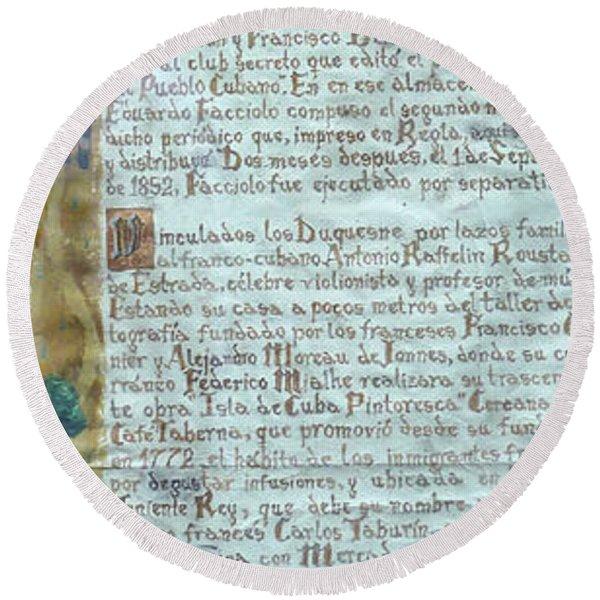 Script Of A Priest Round Beach Towel