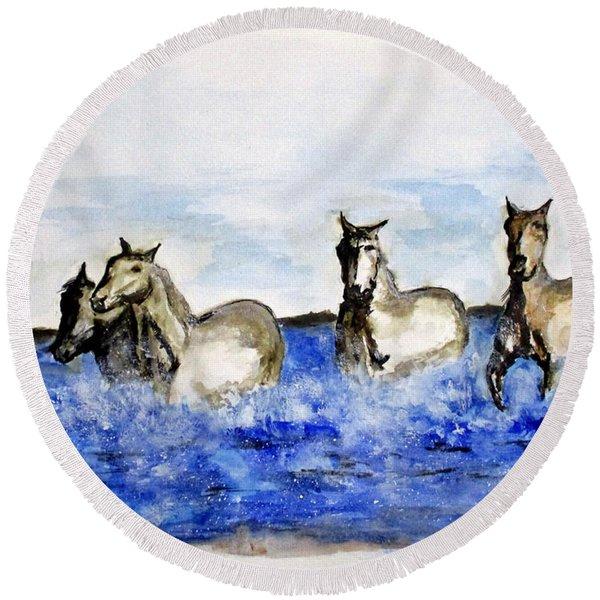 Sea Horses Round Beach Towel