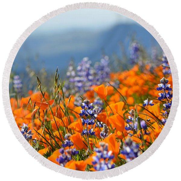 Sea Of California Wildflowers Round Beach Towel