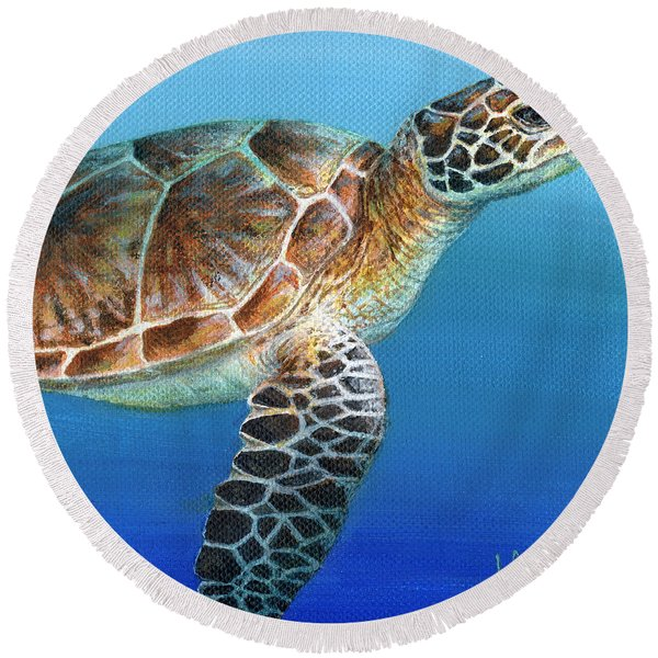 Sea Turtle 2 Of 3 Round Beach Towel