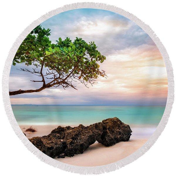 Seagrape Tree Round Beach Towel