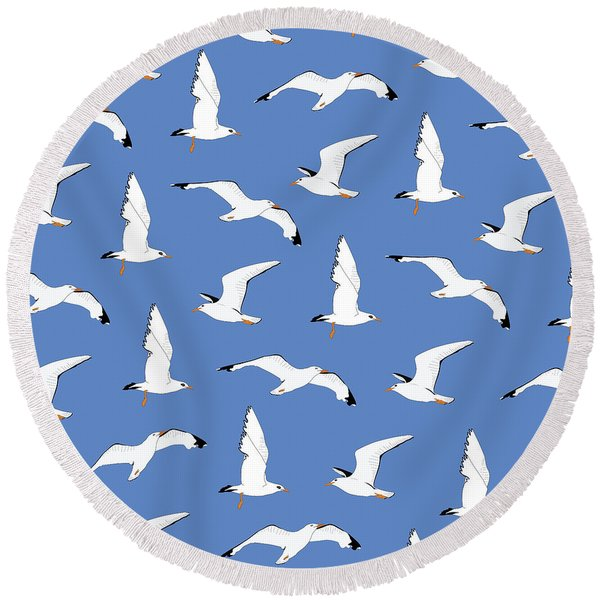 Seagulls Gathering At The Cricket Round Beach Towel