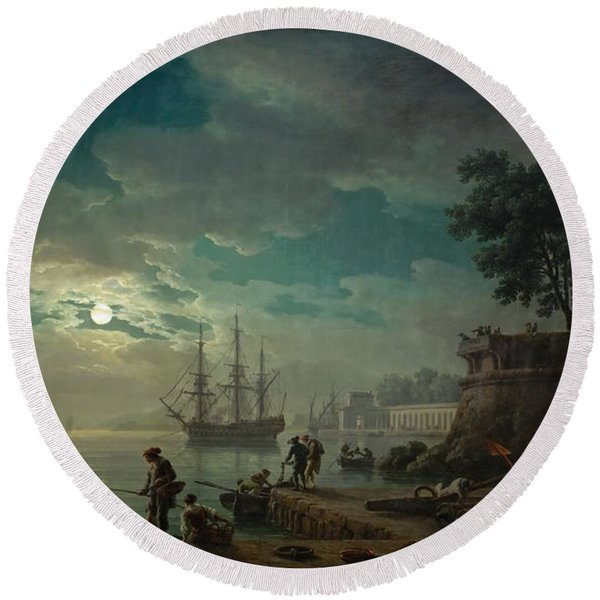 Seaport By Moonlight Round Beach Towel