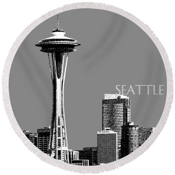 Seattle Skyline Space Needle - Pewter Round Beach Towel