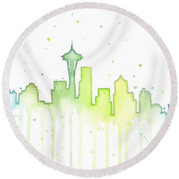 Seattle Skyline Watercolor  Round Beach Towel