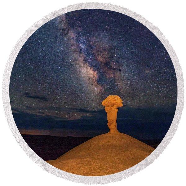 Secret Spire And The Milky Way Vertical Round Beach Towel