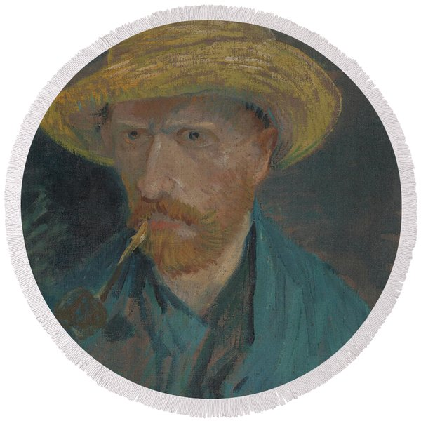 Self-portrait With Straw Hat And Pipe Round Beach Towel