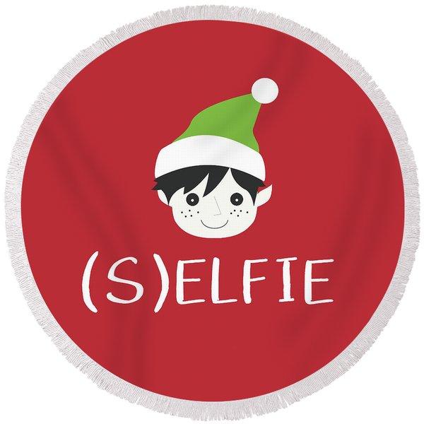 Selfie Elf- Art By Linda Woods Round Beach Towel