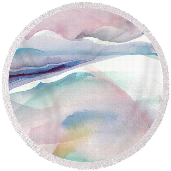 Round Beach Towel featuring the painting Sensuous Landscape by Carolyn Utigard Thomas