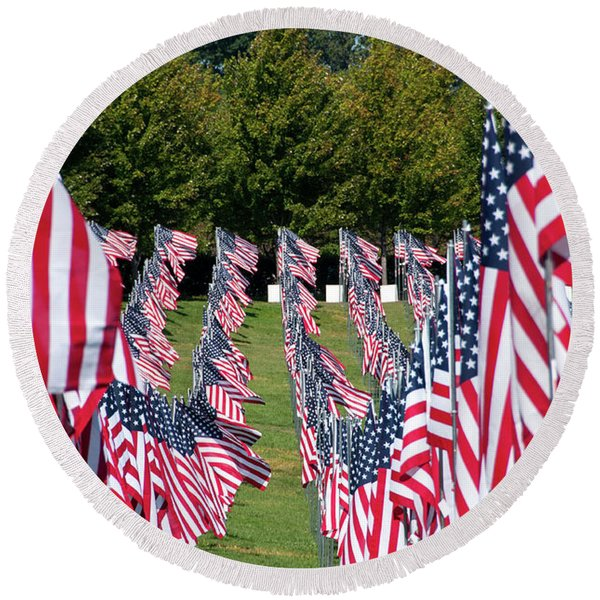 September 11 Memorial Round Beach Towel