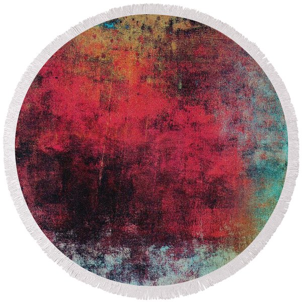 Round Beach Towel featuring the mixed media Ser. 1 #02 by Writermore Arts