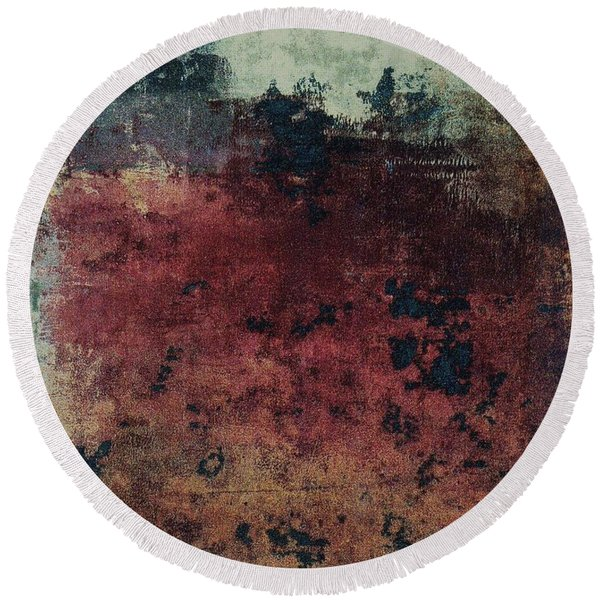 Round Beach Towel featuring the mixed media Ser. 1 #03 by Writermore Arts