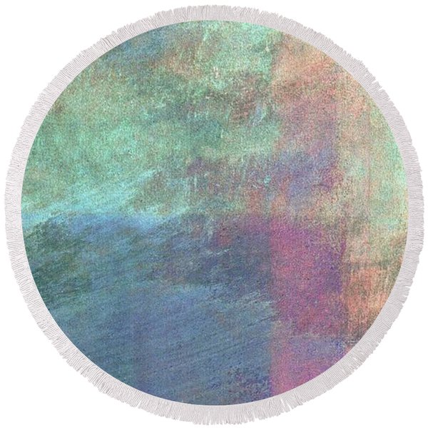 Round Beach Towel featuring the mixed media Ser. 1 #04 by Writermore Arts
