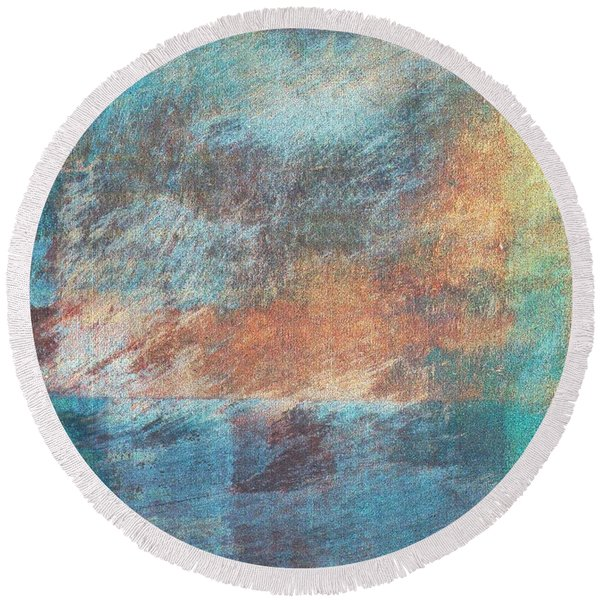 Round Beach Towel featuring the mixed media Ser.1 #09 by Writermore Arts